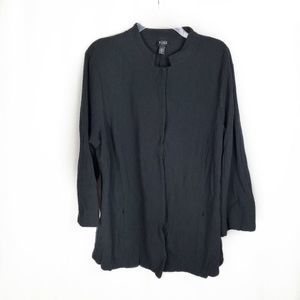 Eileen Fisher Woman black snap front jacket 1X